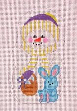 KW 230D Easter Rabbit Snow Man Xmas Ornament HP Hand Painted Needlepoint Canvas