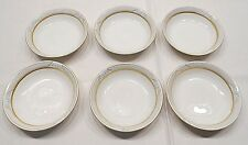 FRAUREUTH CHINA, SIX BERRY BOWLS, BLUE RIM, GOLD TRIM