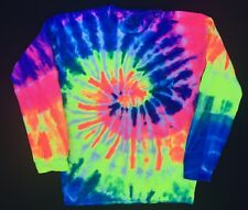 New Tie Dye Tye Die Rainbow White Long Sleeve Crewneck Sweatshirt Unisex Size L
