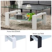 New 2 Tier Glass Coffee Table Wood Shelf Living Room Furniture Rectangular US