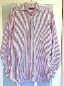 RALPH LAUREN Pink, Black & White Stripe LS Shirt, Spread Collar, 15-1/2
