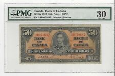 **1937**Canadian $50 Dollar Note BC-26a, PMG VF-30,  Osb/Tow SN# A/H 0078687