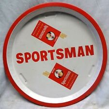 SPORTSMAN CIGARETTES ADVERTISING TIN TRAY VINTAGE RED AND WHITE COLOR COLLECTIBL