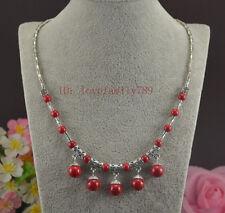 Fashion Women Tibetan Silver Red pine Stone Pendant Necklace Costume Jewellery