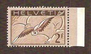 Switzerland 1930 Bird With Letter airmail 2fr, Mi.245x CV $300, (Sc.C15), MVLH *