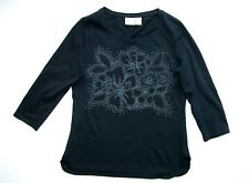 Additions by Chico's Design Black Embellished Top Shirt 0 Woman Blouse