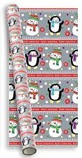 10m (2x5m) Cute Christmas Gift Wrapping Paper Roll Silver with Snowman & Penguin