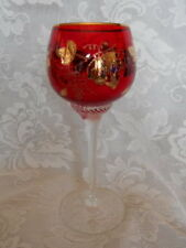 Exquisite Ruby Red Stained Cut Blown Glass Grapes Wine Goblet - Lots of 24K Gold