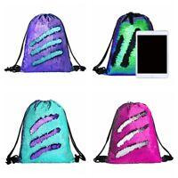 Girl Women Outdoor Mermaid Sequin Shoulder Bag Reversible Glitter Sport Backpack