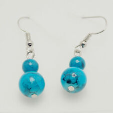 Silver Tone Hook Red/Turquoise/Black Ball Bead Drop/Dangle Earring Girl Gift