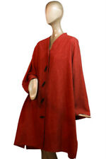 CAROLINE ROSE ~ 2X Berry Red Mandarin Collar SWING TUNIC w LEAF Buttons LONG