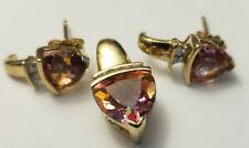 10k Yellow Gold Trillion Mystic Topaz Pendant Earring Set Diamonds Studs 3 Grams