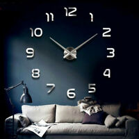 80-120cm 3D Large Wall Clock Mirror Number Sticker Modern Art Decal Decor  US