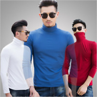 Cool Men Thermal High Collar Turtle Polo Neck Long Sleeve Sweater Stretch Shirts