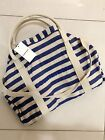 country road tote bag woven stripe true blue