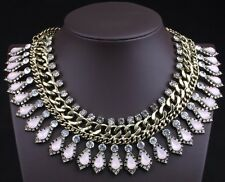 Pink Crystal Gold Metal Chain Zara Spike Bohemian Statement Choker Necklace N290