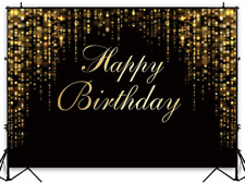 Funnytree 7x5ft Happy Birthday Party Backdrop Black and Gold Glitter Bokeh Sequi