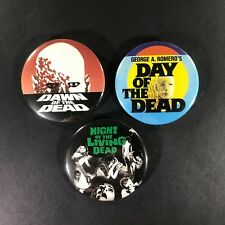 "George Romero 2.25"" Pin Button Set Night Dawn Day of the Dead Zombie Horror Cult"