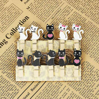 10pcs Cute Cats Wooden Pegs Clips Rope Clothes Photo Paper Pin Party Favor