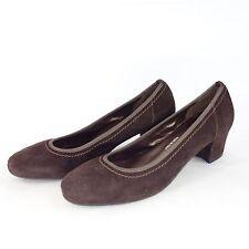 ALFREDO giantin Italy Zapatos De Tacón Cuero Piel ante marrón pespuntes adorno
