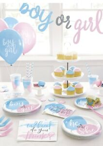 NEW Gender Reveal PARTY Girl or Boy? Baby Shower Balloons Tableware Ideas