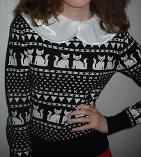 H&M Pullover Katzen Katze animal Langarm schwarz weiß 34 36 38 40 XS S M L TOP
