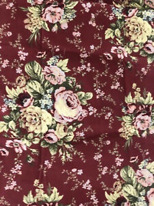 Waverly Harbor House Tablecloth Roses on Burgundy Red Cotton 104 x 64