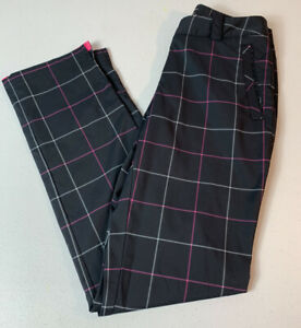 NikeGolf Tour Performance Dri Fit Navy Pink Plaid Women's Golf Pants, Size 2