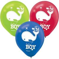 PACK OF 15 BABY SHOWER AHOY IT'S A BOY BALLOONS PARTY DECORATIONS BLUE RED GREEN