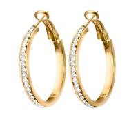 9ct Gold Filled Topaz 30mm hoop earrings