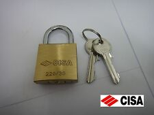 CISA HARDENED OPEN SHACKLE BRASS PADLOCK - 30mm - 22010-30 - NEW