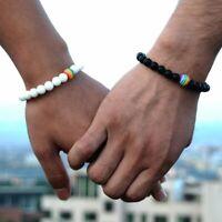 LGBT Gay Pride Peace Stone Beaded Bracelets Bangle Rainbow Couple Women Men Gift