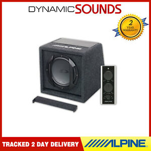 "Alpine SWE-815 8"" 20cm Amplified Subwoofer Bass Box with Wired Remote Controller"
