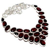 "Rare Mozambique Garnet Gemstone Handmade 925 Sterling Silver Necklace 18"""