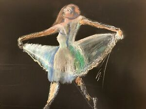 Oil Pastel Drawing of a Dancer in Blue on Black Paper