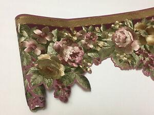 Victorian Scalloped Gold Silk Mauve Pink Rose Flower Floral Wallpaper Border