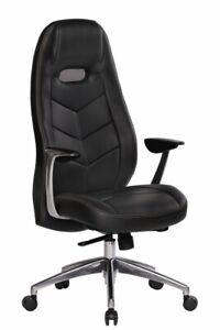 Amstyle Bürostuhl BARI Echt-Leder Schreibtischstuhl Schwarz Chefsessel Drehstuhl