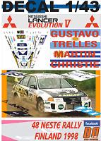 DECAL 1/43 MITSUBISHI LANCER EVO V G.TRELLES R.FINLAND 1998 WINNER Gr.N (01)