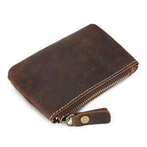Handmade Crazy Horse Leather Zipper Coin Purse Card Holder Driver's License Bag