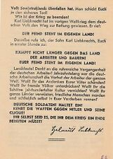 flugblatt von Helmut Liebknecht - Sohn Von Karl Liebknecht