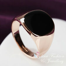 18K Rose Gold Plated Simulated Black Agate Classic Simple Design Men`s Ring