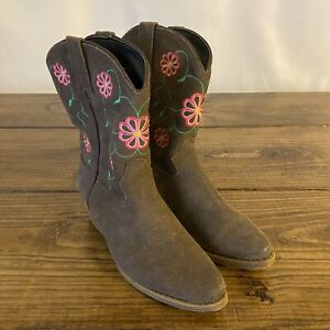 Dan Post Cowboy Boots Young Girls Size 2.5M Cowgirl western Brown Suede Floral