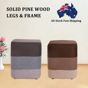AU STOCK  Wooden Footstools Rest Seat Foot Stool Fabric Ottoman Pouffe