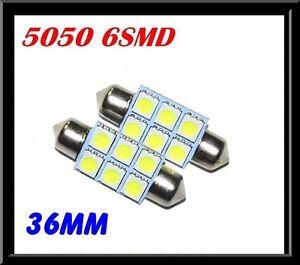 1 x CAR 12V LED 36MM FESTOON INTERIOR WHITE LIGHT BULB 5050 6SMD AUTO DOME GLOBE