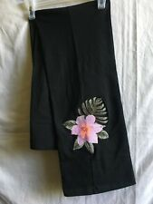 New Victoria'S Secret Pink Embroidered Floral Black Boot Flare Yoga Pants M