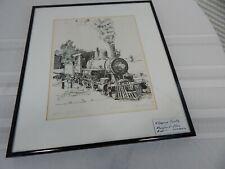 "Vintage! 73"" Steam Locomotive Framed & Matted Print By Artist J.Dehart Davis"