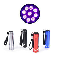 Mini UV ultra violeta 9 LED linterna luz negra lámpara de inspección antorcha