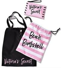 NEW Victoria's Secret 3 Piece Tote Set Beach Bombshell Pink & Black LG Nylon Bag