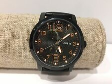 Reloj Watch Montre GUESS - Quartz - Doble Uso Horario - Steel - Black Leather