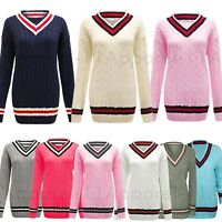 Womens Ladies Cable Knitted V Neck Long Stretch CRICKET JUMPER Pullover Top PLUS